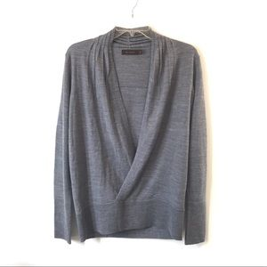 THE LIMITED Deep V-Neck Sweater-Gray-Wool Blend-L